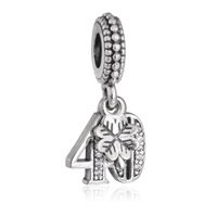 925 Sterling Silver 40 Years of Love w/ Clear CZ Dangle Pendant Charm