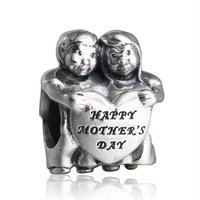 925 Sterling Silver Children Happy Mother's Day Charm Bead