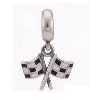 925 Sterling Silver Chequered Flags Dangle Pendant Charm