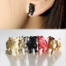 Pair 3D Little Bull Pug Dog Stud Fake Gauge Earrings  - Cool Rock Punk Style