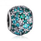 925 Sterling Silver Ocean Mosiac Pave Ball Charm