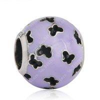 925 Sterling Silver Purple Fluttering Cut - Out Butterflies Charm Bead