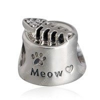 925 Sterling Silver Meow Cat Bowl Charm Bead