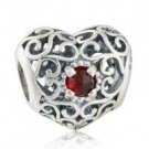 925 Sterling Silver January Birthstone Signature Heart Charm Bead