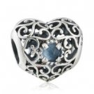925 Sterling Silver September Birthstone Signature Heart Charm Bead