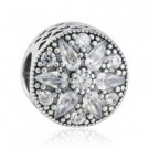 925 Sterling Silver Radiant Bloom w/ Clear CZ Charm Bead