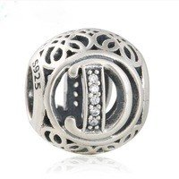 925 Sterling Silver Vintage D Charm Bead