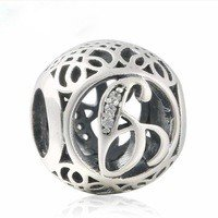 925 Sterling Silver Vintage G Charm Bead