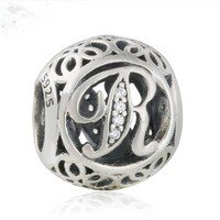 925 Sterling Silver Vintage R Charm Bead