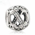 925 Sterling Silver Vintage X Charm Bead