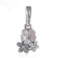 925 Sterling Silver Poetic Blooms Dangle Pendant Charm