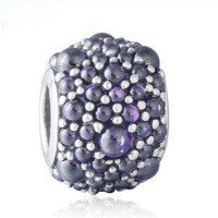 925 Sterling Silver Purple Shimmering Droplets Charm Bead