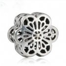 925 Sterling Silver Floral Daisy Lace Charm Bead