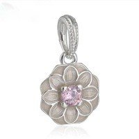 925 Sterling Silver Blooming Dahlia w/ Pink Enamel Dangle Pendant Charm