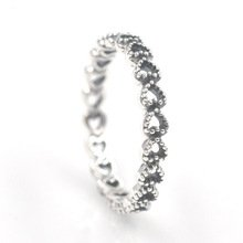 925 Sterling Silver Openwork Linked Love Ring Band