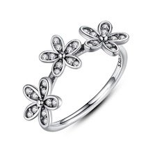 925 Sterling Silver Triple Dazzling Daisy Ring Band