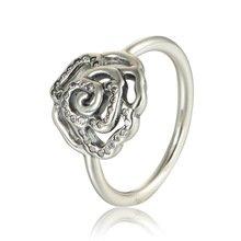 925 Sterling Silver Shimmering Delicate Rose Ring Band