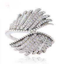 925 Sterling Silver Majestic Feathers Ring Band