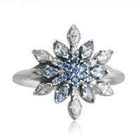 925 Sterling Silver Blue Crystal Snowflake Ring Band