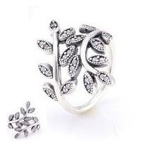925 Sterling Silver Sparkling Leaves Ring Band