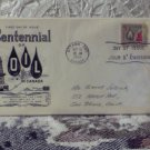 First Day Issue Cover Stamp Canada Centennial of Oil 1958