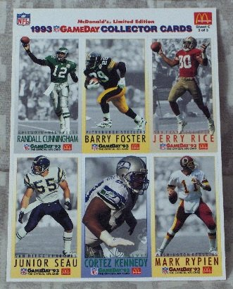 McDONALDS FLEER Gameday Uncut 1993 Football 1 Promo Sheet C 3 of 3 Jerry Rice