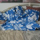 HRH HAWAIIAN Shirt Blue White Sz XL Used Hawaii