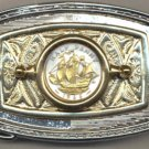 "103-BB Belt Buckle-British ½ penny ""Sailing ship"" (size of a U.S. quarter)"