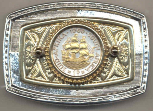 "114B-BB Belt Buckle-So. African penny ""Sailing ship"" (U.S. half dollar size)"