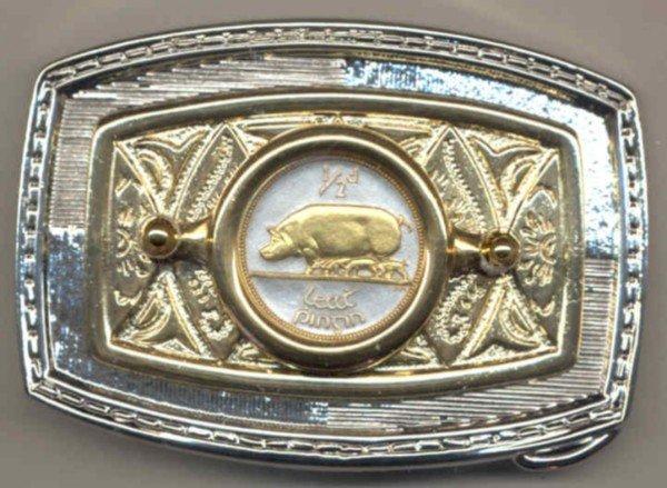 150-BB Belt Buckle-Irish ½ penny