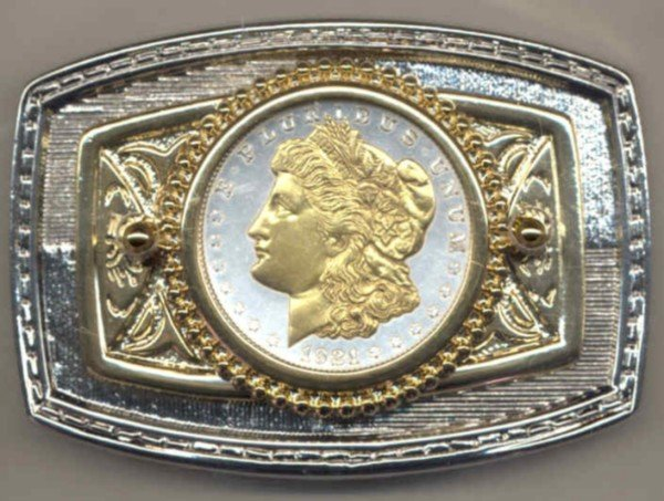 63BB Belt Buckle - U.S. .Morgan Silver dollar (minted 1878-1921)