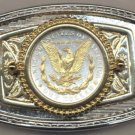 65BB Belt Buckle - U.S. .Morgan Silver dollar (reverse Eagle) (minted 1878-1921)