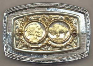 6-8BB Belt Buckle - Buffalo & Indian nickel (1913-1938) Two coins