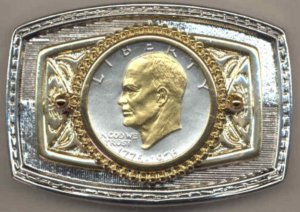 70BB Belt Buckle - Bicentennial (Ike) dollar (1976)