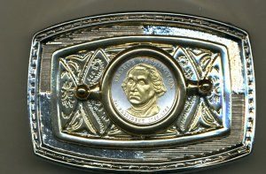 96BB Belt Buckle - New (2007) George Washington Dollar coin