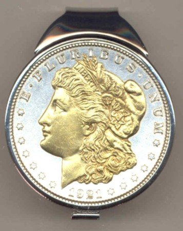 M63 U.S. Morgan Silver dollar (1878 - 1921) Total size of clip 1-1/2
