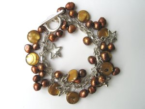 .925 Sterling Silver Mother of Pearl Bracelet - Free Shipping !!!