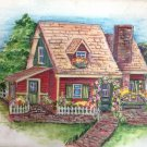 Little red cottage painting