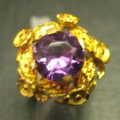 Vintage 18K Yellow Gold Russian Lab Created Color Change Alexandrite Floral Ring
