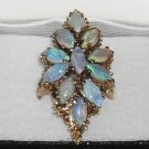 Amazing Vintage 14k Gold Crystal Opals Ultra Long Cluster Bamboo Flashy Ring