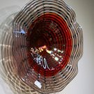 Hand Blown Art Glass Table Platter Bowl Grey Lavender Red w/ Wall Hanging Mount