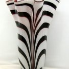 "18"" Hand Blown Glass Murano Art Style Vase Black White Red Handkerchief Ruffle"