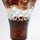 "14"" Hand Blown Murano Art Glass Amber Brown Clear Gold Web Vase Sculpture IMAX"