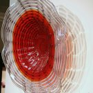 Hand Blown Art Glass Table Platter Plate Red Grey Lavender w/ Wall Hanging Mount