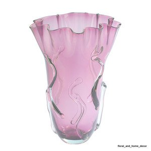 "New 15"" Hand Blown Art Glass Purple Vase Handkerchief Ruffle Fluted IMAX"