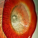"26"" Hand Blown Art Glass Table Platter Plate Red and Clear w/ Wall Hanging Mount"