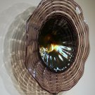 Hand Blown Art Glass Table Platter Plate Bowl Grey Purple w/ Wall Hanging Mount