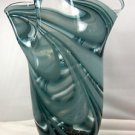 "New 11"" Hand Blown Glass Murano Art Style Vase Blue Handkerchief Ruffle Fluted"