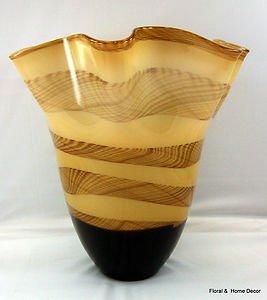 """New 15"""" Hand Blown Glass Murano Art Style Vase  Amber Black Handkerchief Ruffle"""