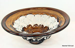 Hand Blown Murano Art style Glass Amber Clear Brown Web Bowl Sculpture IMAX